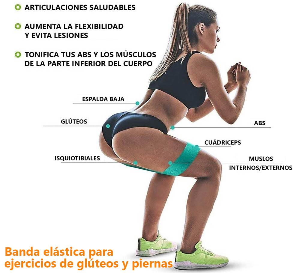 Beneficios de las bandas elásticas utilizadas para ejercicios de glúteos y piernas