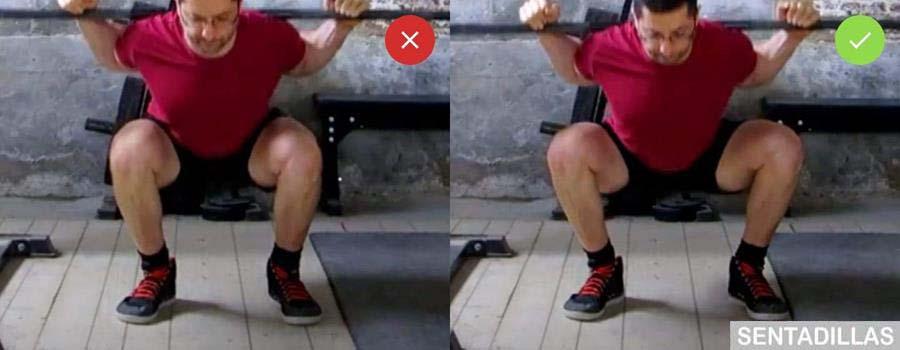 Posición correcta de las Rodillas en sentadillas