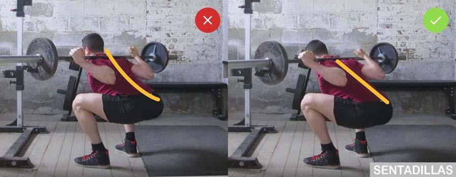 Posición correcta para los lumbares realizando Sentadillas